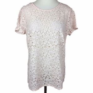 Old Navy Blouse Top Lace Pink Sheer Short Sleeve M